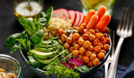 Health salad, Buddha bowl of mixed vegetables