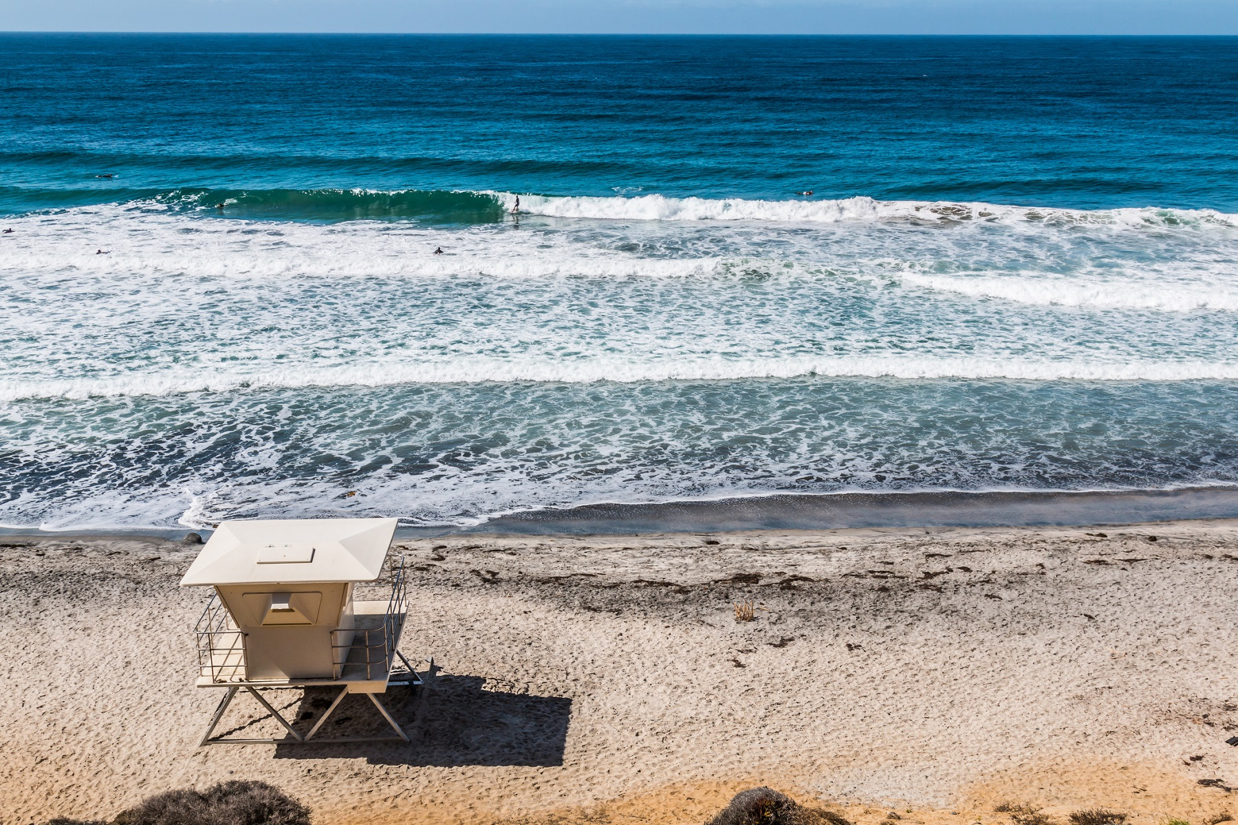 View From Above of Lifeguard Tower on Encinitas Beach