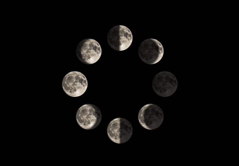 Images of the moon in each major lunar phase, in a circle diagram