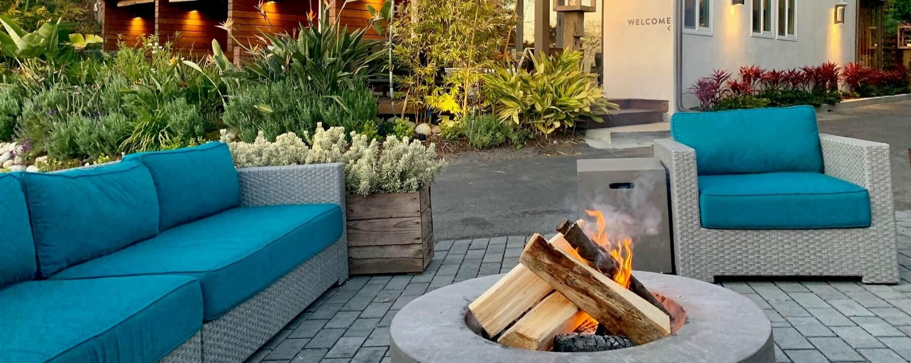 outdoor patio and with fire pit
