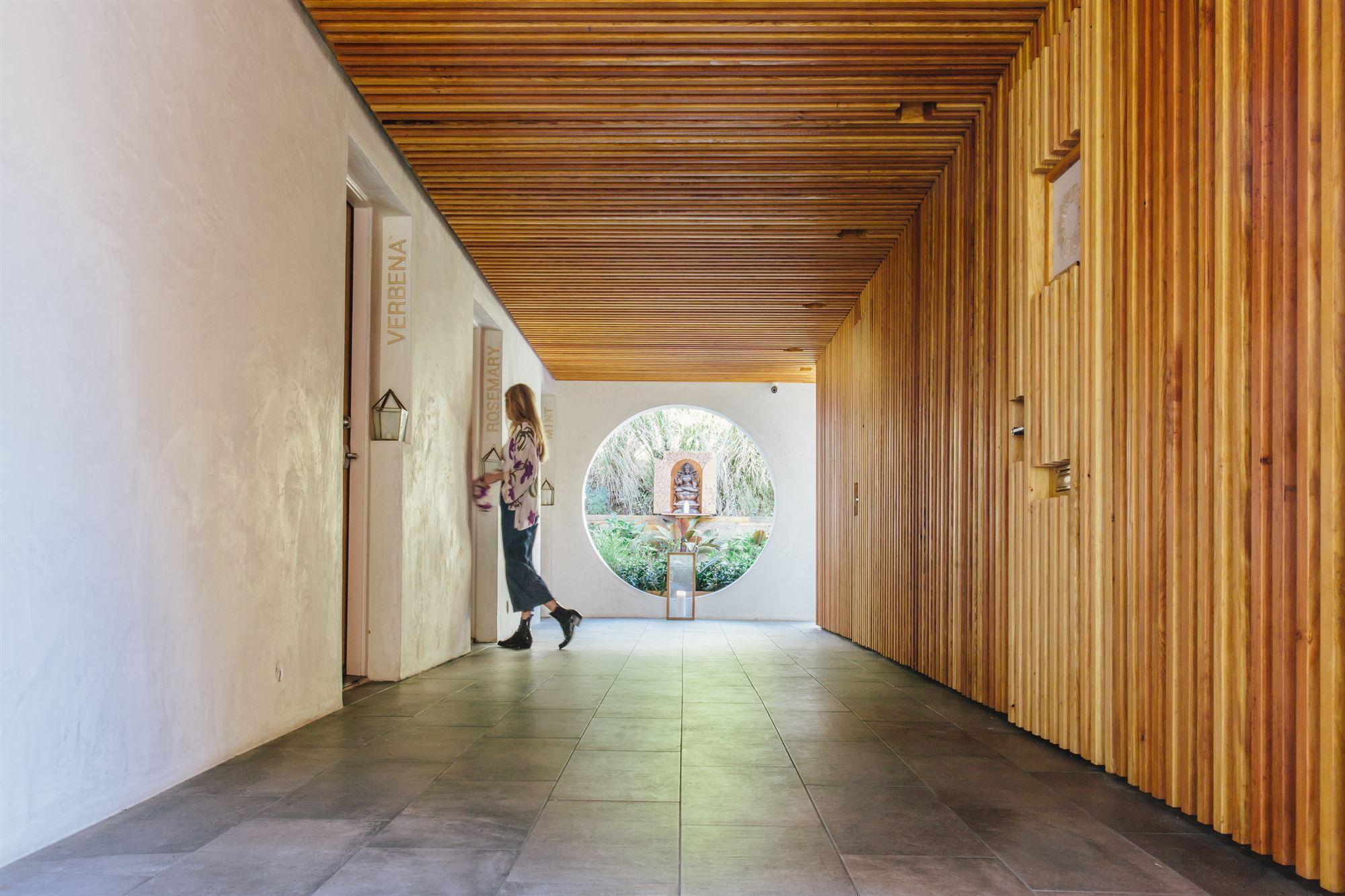 Look down wellness hallway