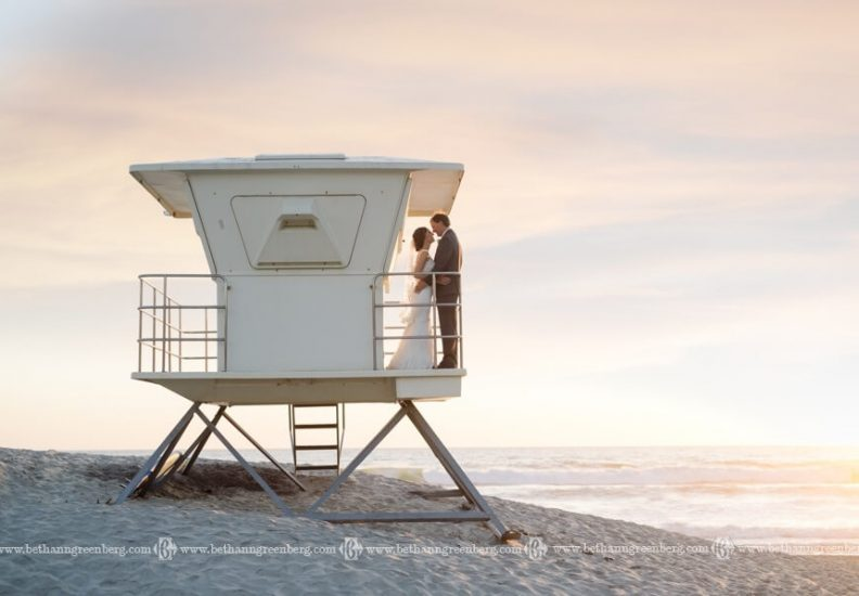 Bride and Groom by the sea in a raised platform