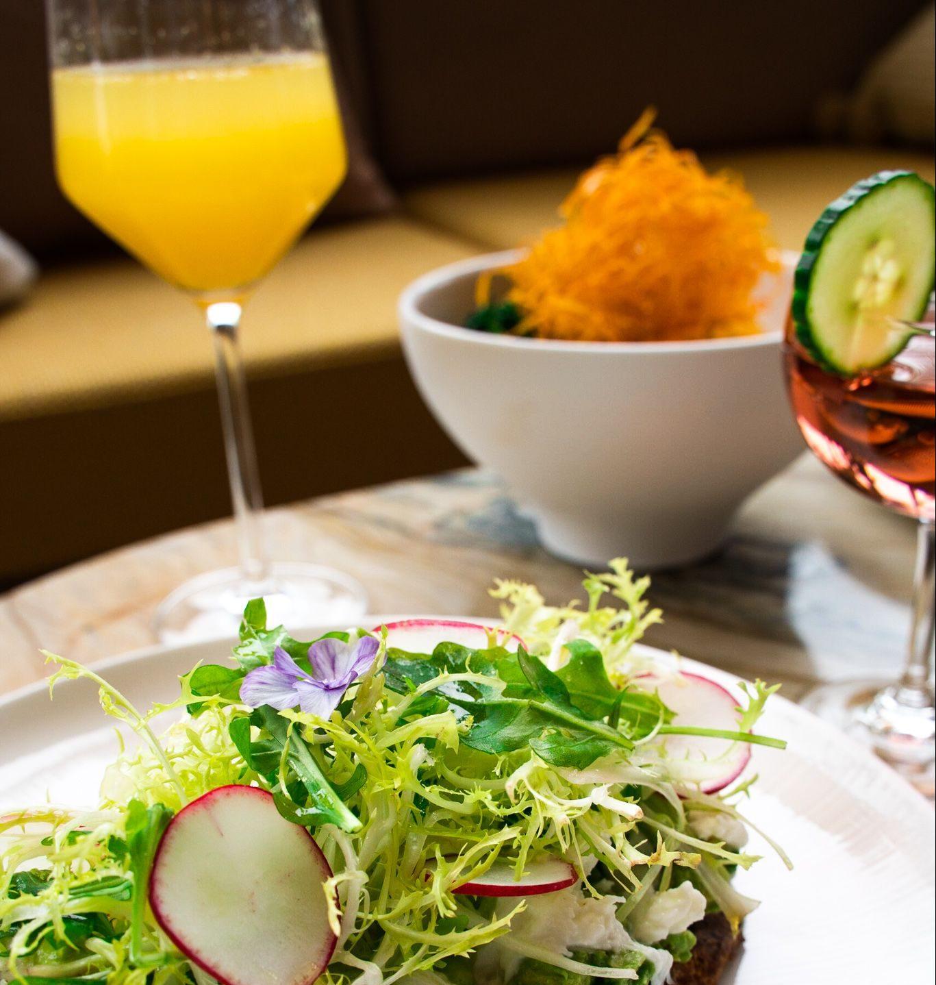 Salad and Drinks